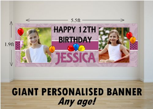 Personalised GIANT Large Girls Happy Birthday PHOTO Poster Banner N39 ANY AGE